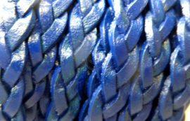 Kék fonott bőr  alap - 22cm
