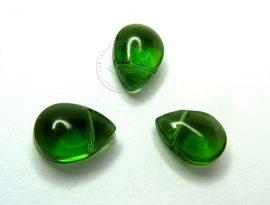 Üveg gyöngy könnycsepp - 8x11mm - zöld, 5db