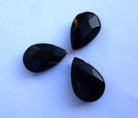 Üveg gyöngy könnycsepp - 12x18mm - fekete