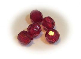 6mm burgundy metszett gyöngy - plastic