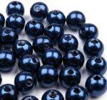 8mm plastic viaszos tekla gyöngy - kék 10g