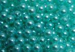 8mm plastic viaszos tekla gyöngy - világos vízkék