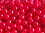 8mm plastic viaszos tekla gyöngy - vörös pink