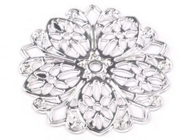 Filigrán virág karika - ezüst szín