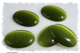 Üveg macskaszem ovális kaboson -zöld