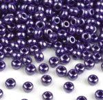 Kék gyöngyház színű telt üveg kásagyöngy - 10/0, 10g
