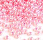 Világos pink gyöngyház színű telt üveg kásagyöngy - 10/0, 10g