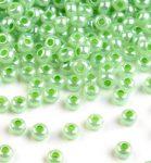 Világos zöld gyöngyház színű telt üveg kásagyöngy - 10/0, 10g