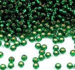 Zöld ezüst közepű cseh üveg kásagyöngy 11/0 - Preciosa - 10g