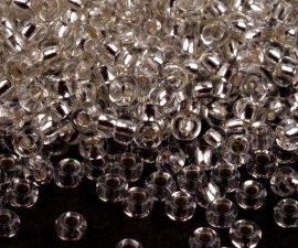 Kristály ezüst közepű cseh üveg kásagyöngy 11/0 - Preciosa - 10g