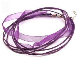 Sötét lila organza - pamut szalag, 4 soros