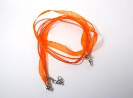 Narancs organza - pamut szalag, 4 soros
