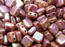 Lüszteres arany/rózsa topáz - CzechMates Tile 6mm