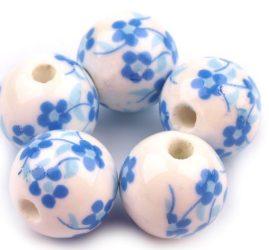 Királykék porcelán gyöngy - 12mm