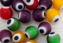 Szem festésű üveg gyöngy - 10mm, lila