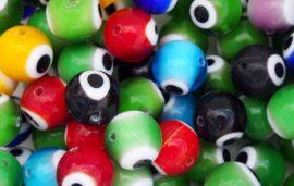 Szem festésű üveg gyöngy - 12mm, sötétkék