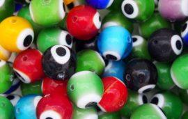 Szem festésű üveg gyöngy - 12mm, világoskék