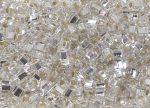 Ezüst közepű kristály  - TOHO cube kockagyöngy 3mm