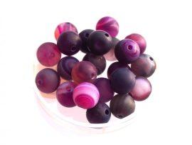 Agate matt üveg gyöngy - lila