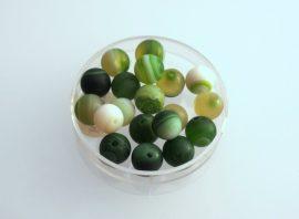 Agate matt üveg gyöngy - zöld