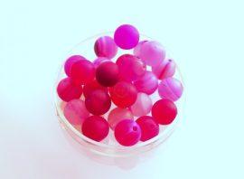Agate matt üveg gyöngy - fukszia