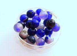 Agate füstös üveg gyöngy - kék