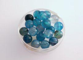Agate jég üveg gyöngy - kék