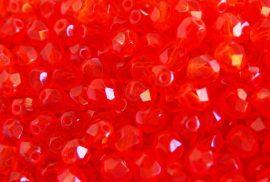 Világos Piros csiszolt üveg gyöngy, 6mm - 20db