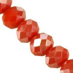 Metszett fánk, narancs AB  - Cseh csiszolt üveg gyöngy