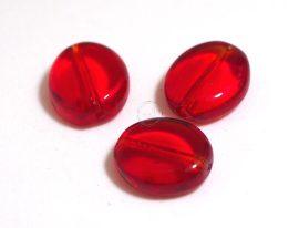 Üveg gyöngy ovális alakú -piros, 5db