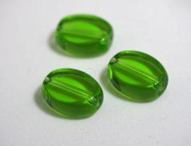 Üveg gyöngy ovális alakú -zöld, 5db