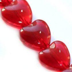 Üveg gyöngy szív alakú -10mm - bordó, 10db