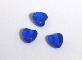 Üveg gyöngy szív alakú -10mm - kék, 10db