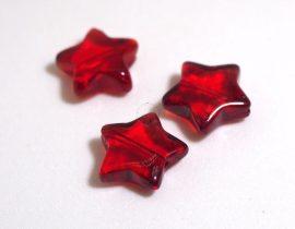 Üveg gyöngy csillag alakú - 12mm - piros