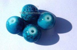 Üveg gyöngy márványos türkiz 12mm