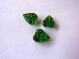 Üveg gyöngy levél - 14mm - zöld