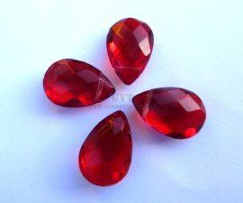 Üveg gyöngy könnycsepp - 12x18mm - vörös