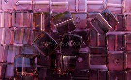 4mm Üveg kocka gyöngy - Ametiszt