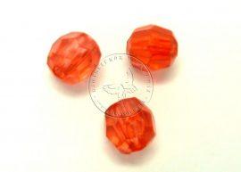 6mm piros metszett gyöngy - plastic