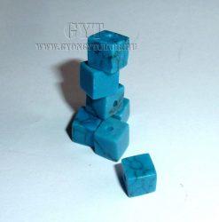 6mm  kocka gyöngy márványos sötét türkiz