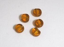 Üveg gyöngy kerek -barna, 10db, 6mm