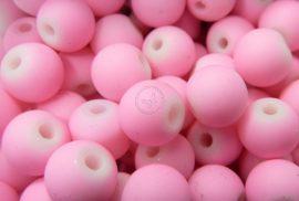 Gumi bevonatú 8mm üveg gyöngy - Rózsaszín