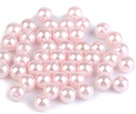 8mm plastic viaszos tekla gyöngy - világos rózsaszín 10g