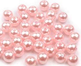 8mm plastic viaszos tekla gyöngy - rózsaszín 10g