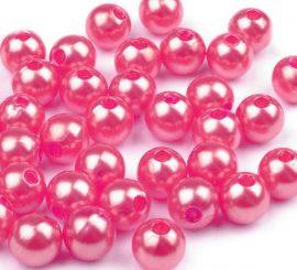 8mm plastic viaszos tekla gyöngy - pink 10g