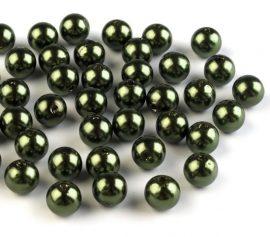 8mm plastic viaszos tekla gyöngy - oliva 10g