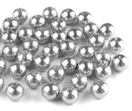 8mm plastic viaszos tekla gyöngy - ezüst szürke 10g