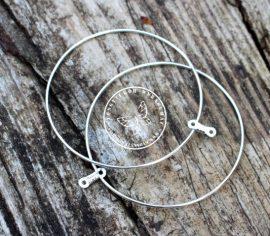 Karika memória fülbevaló alap - nagy méretű, 5cm, Nikkelmentes