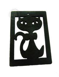 Fa medál - fekete macska