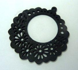Fa medál - fekete virág